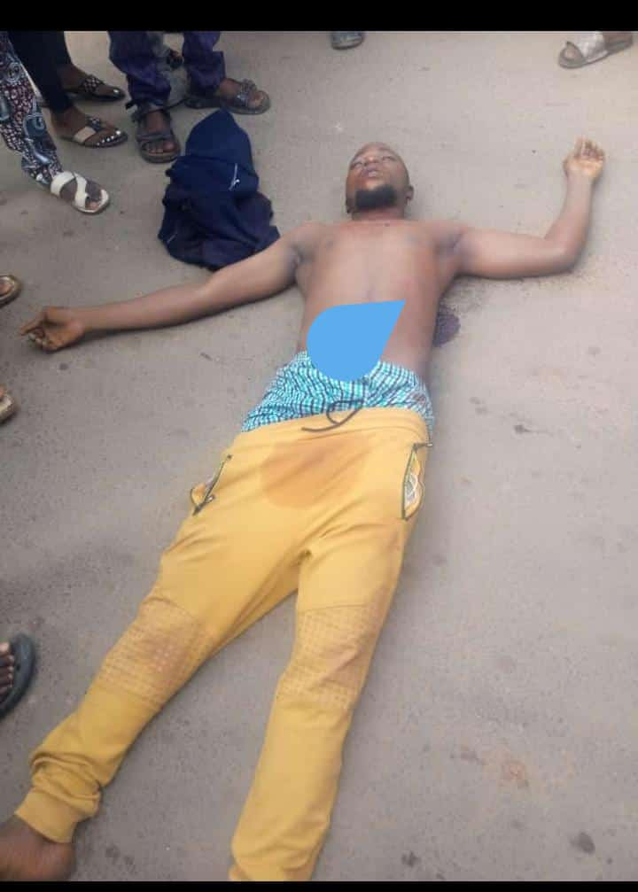 A young man lying dead at the protest ground