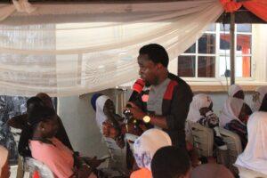 Yemi Nature addressing the girls