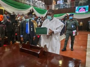 Enugu Governor, Mr Ifeanyi Ugwuanyi presenting the budget in the house of Assembly