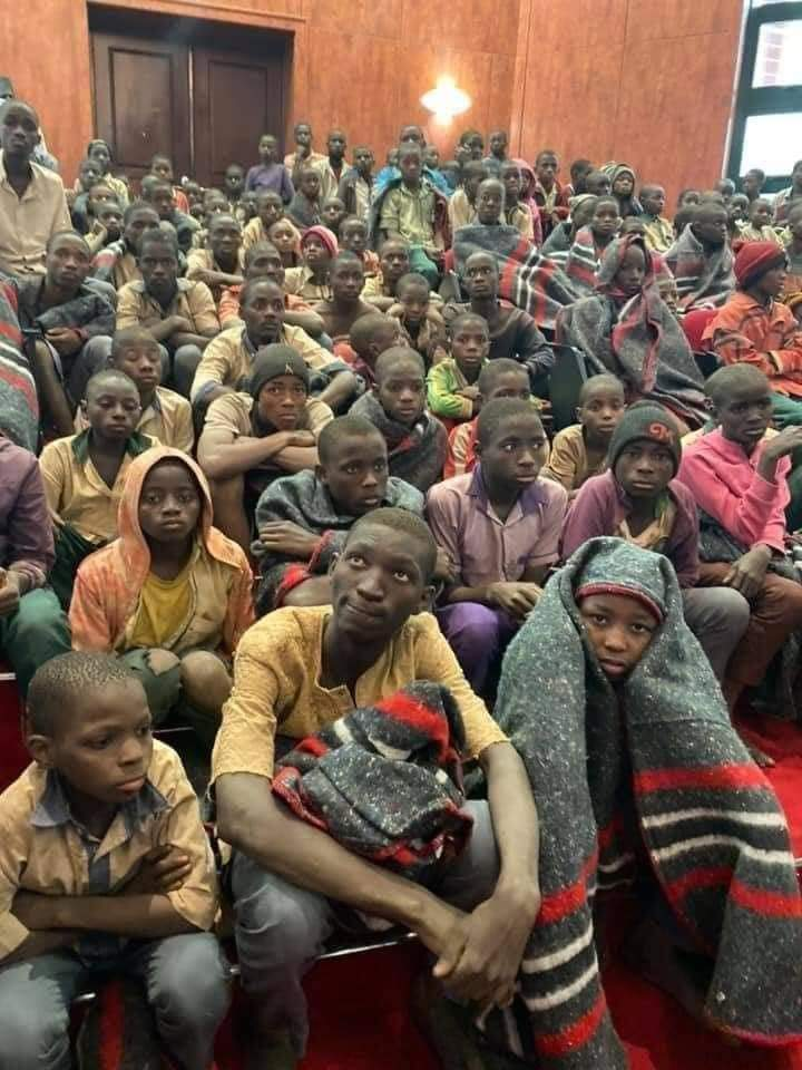 The abducted Kankara school boys after their release in Katsina