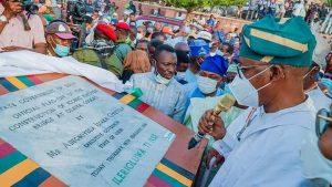 Governor Gboyega Oyetola during the flag off ceremony in Osogbo