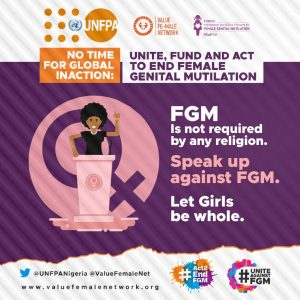One of the infographics bearing the hashtags against FGM