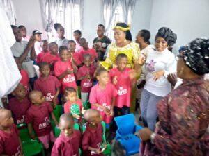 Fashola with kids